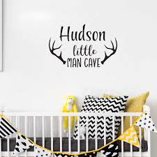 Personalized Name Wall Decal Baby Boys Nursery Decor Man Cave Wall Stickers For Kids Rooms Deer Antlers Art Mural Wallpaper Z438 Wall Stickers Aliexpress