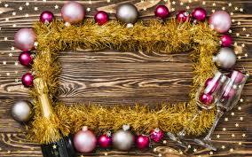 تحميل خلفيات إطار عيد الميلاد السنة الجديدة الوردي كرات عيد