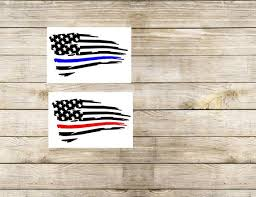 Thin Blue Line Thin Red Line Tattered Flag Decal For Car Etsy