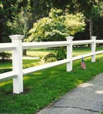 White Split Rail W Capped Posts Stained And Shorter Fence Landscaping Backyard Fences Front Yard