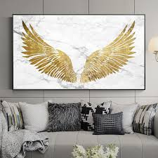 Nordic Style Golden Wings Canvas Painting Posters And Print Unique Wall Art Pictures Living Room Bedroom Studio With Free Shipping Worldwide Weposters Com