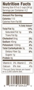 kirkland almond milk nutrition facts