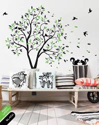 Black Large Tree With Leaves Birds Squirrels Wall Decal Art Decor Walldecaldesigns