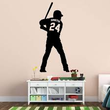 Vwaq Personalized Baseball Player Wall Decals For Boys Room Custom N