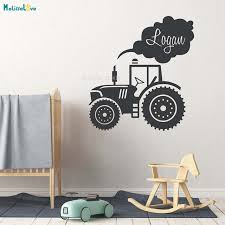Big Offer 1125ec Custom Name Tractor Kids Truck Home Decor For Kids Baby Room Nursery Self Adhesive Decal School Loveyl Murals Yt2533 Cicig Co