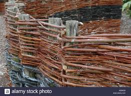 Woven Willow Fencing Wattle Fence With Interwoven Salix Twigs And Stock Photo Alamy
