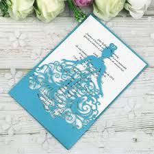 Compre Nuevo Laser Cut Sapphire Blue Crown Princess Invitaciones