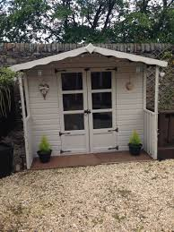 Painted My Dark Brown Shed With Cuprinol Shades In Natural Stone Cuprinol Garden Shades Summer House Garden Painted Shed