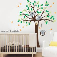 White Tree Decal Tree And Koalas Decal Wall Decals Nursery Etsy