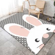 Best Deal 74e02 Korean Style Cartoon Rabbit Grey White Wave Point Carpet For Kids Bedroom Girls Room Carpet Non Slip Kitchen Mat Rugs Cicig Co