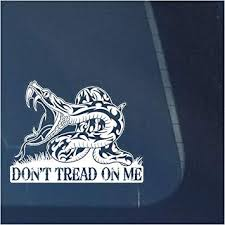 Amazon Com Don T Tread On Me Clear Vinyl Decal Sticker For Window Gadsden Flag Sign Art Print Design White Arts Crafts Sewing