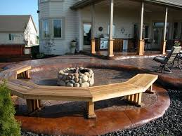 stamped concrete patio w firepit just