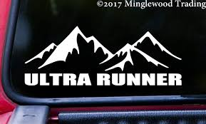 Amazon Com Minglewood Trading White Ultra Runner 8 X 3 Vinyl Decal Sticker Running 50k 50m 100k 100m Car Mountains Trail Running 20 Color Options Automotive