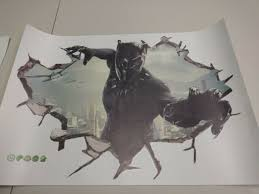 3d Marvel Superhero Wall Decal 2 Item Set Captain America And Black Panther For Sale Online