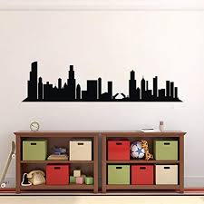 Amazon Com N Sunforest World City Wall Decal Black City Scape Skyline Wall Stickers Adhesive Removable Wall Art Decorative For Home Livingroom Bedroom 15 7 X47 Home Kitchen