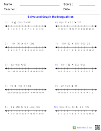 pre algebra worksheets inequalities