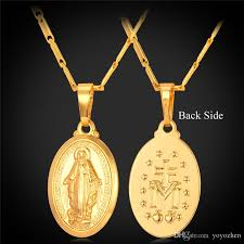 virgin mary pendant necklace 18k real