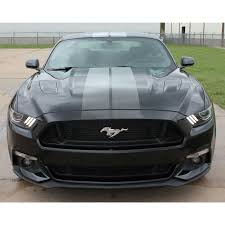 2015 2017 Ford Mustang Digital Faded Rally Stripes Silver Hood Striping Factory Oem Style Vinyl Decal Graphics Kit