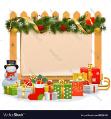 Wooden Fence With Christmas Decoration Royalty Free Vector