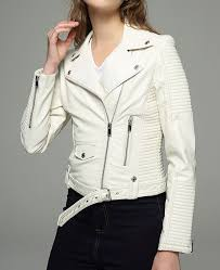 biker iceland white faux leather jacket