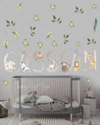 Personalized Baby Decals Baby Name Decor Nursery Safari Etsy