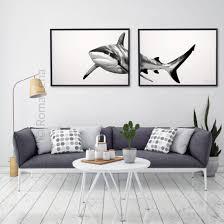 White Shark Photography Set 2 Shark Prints Living Room Prints Wall Art Prints Modern Wall Decor