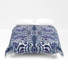 deep navy blue watercolor damask duvet