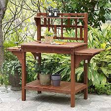 garden potting bench with storage shelf