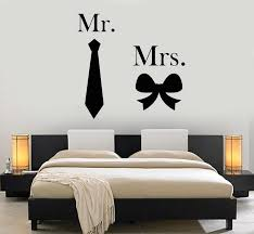 Vinyl Wall Decal Man Woman Mr And Mrs Bow Tie Bedroom Stickers Mural Wallstickers4you