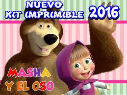 Kit Imprimible Masha Y El Oso Disena Tarjetas Y Mas 5 000 En