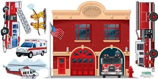 Amazon Com Fire Station Wall Mural Fire Department Wall Decals For Boys Room Murals Home Kitchen