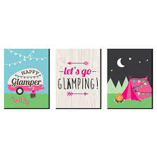 Let S Go Glamping Nursery Wall Art Kids Room Decor And Camping Home Decorations 7 5 X 10 Inches Set Of 3 Prints Bigdotofhappiness Com