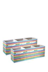 multi colored pattern storage bins
