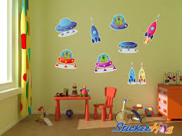 Aliens Ufos And Rocket Ships Kids Room Wall Decal