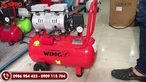 Máy nén khí mini không dầu giảm âm Wing 3/4HP bình chứa 25L, Máy bơm hơi  xách tay dùng gia đình - YouTube