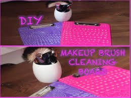 diy make up brush cleaning board how