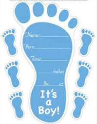 Baby Boy Birth Announcement Wall Stickers 7 Blue Decals Foot Prints Personalize Ebay