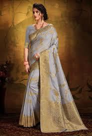 smoky grey dimond silk saree