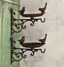 Cast Iron Wall Mounted Bird Feeder Bath Venus Hanger Set Of 2