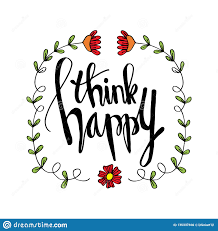 think happy concept hand lettering stock illustration
