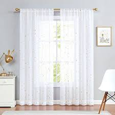 Amazon Com Jinchan Sheer Curtains For Kids Nursery Gold On Flax Star Design Faux Linen Textured Rod Pocket Cute Shiny Star Drapes Living Room Set 2 Panels 95 Inches White Kitchen Dining