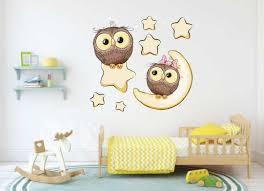 Baby Owl Decals Nursery Decal Moon Stars Decal Toddler Room Decor Wall Decals Wall Stickers Owls Baby S Room Decor Cartoon Owls