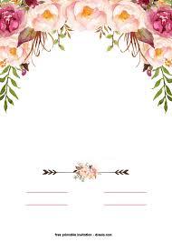 Free Printable Boho Chic Flower Baby Shower Invitation Template