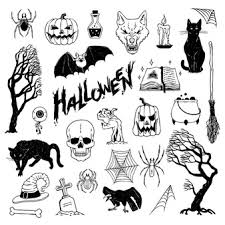 Free Vector Cartoon Halloween Illustration With Scary Tree Evil Pumpkins And Cemetery