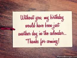 thank you messages for coming to a birthday party quotes and