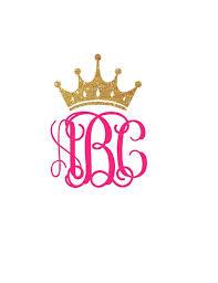 Monogram Crown Decal Full Crown Monogram Decal Princess Etsy Monogram Decal Princess Decal Car Monogram Decal