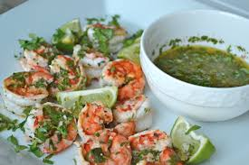 lime grilled prawns with cilantro dip