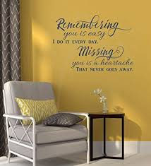 Amazon Com Remembering You Is Easy Vinyl Wall Decals Art Memorial Quotes 23x16 Inch Deep Blue Home Kitchen