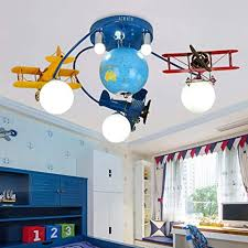 Lakiq Boys Room Chandelier Airplane Modern Led Flush Mount Lighting With World Globe Creative Cartoon Aircraft Light Fixture For Kids Room Childrens Room Bedroom Amazon Com