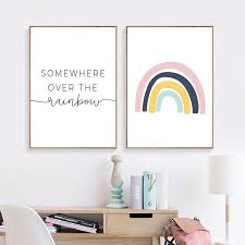 Somewhere Over The Rainbow Cute Nursery Wall Art Nordic Style Posters Nordicwallart Com